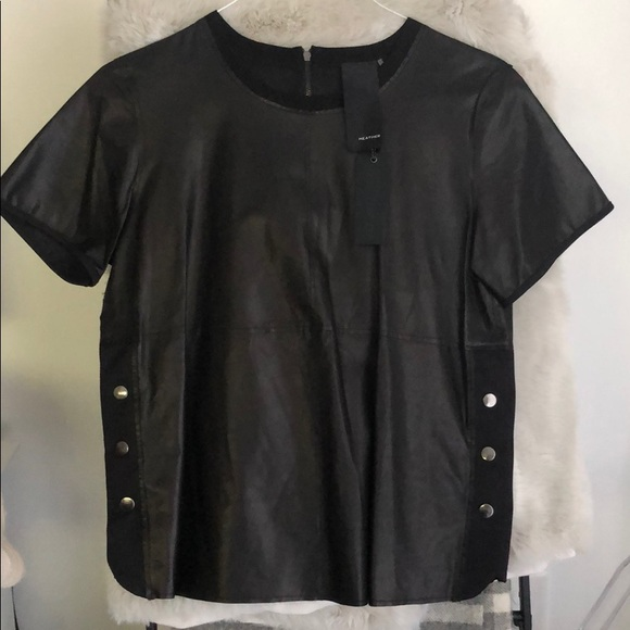 Heather Tees Tops - Leather t shirt